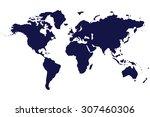world map isolated on white... | Shutterstock .eps vector #307460306