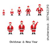 pixel santa on  white. raster... | Shutterstock . vector #307462193