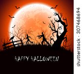 halloween background with scary ... | Shutterstock . vector #307468694