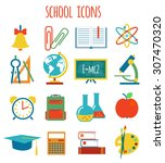 set of icons education.flat... | Shutterstock . vector #307470320