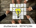 high angle view of businessmen... | Shutterstock . vector #307471286