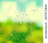 water drops vector on green... | Shutterstock .eps vector #307471844