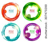 vector set of round colorful...   Shutterstock .eps vector #307473200