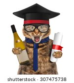 funny cat with wine and diploma.... | Shutterstock . vector #307475738