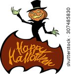 happy halloween title with a... | Shutterstock .eps vector #307485830