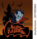 happy halloween title with a... | Shutterstock .eps vector #307485860