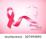 breast cancer awareness ribbon... | Shutterstock .eps vector #307494890