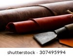 leather craft. work table of... | Shutterstock . vector #307495994