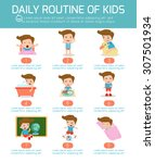 daily routine of happy kids .... | Shutterstock .eps vector #307501934