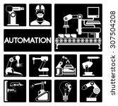 automation icons set  robotic... | Shutterstock .eps vector #307504208