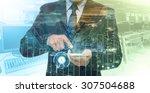 double exposure of businessman... | Shutterstock . vector #307504688