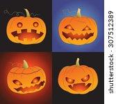 set of pumpkin for halloween ... | Shutterstock .eps vector #307512389