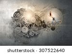 young businesswoman running in... | Shutterstock . vector #307522640