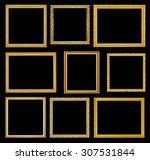 the antique gold frame on black ... | Shutterstock . vector #307531844