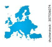 blue map europe vector. | Shutterstock .eps vector #307536074