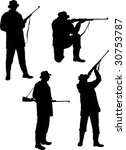 silhouette hunters on white...   Shutterstock . vector #30753787