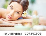 close up of female relaxed face | Shutterstock . vector #307541903