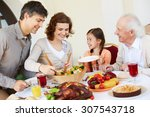 woman giving salad to her... | Shutterstock . vector #307543718