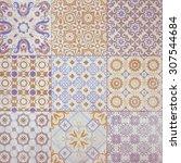 colorful vintage ceramic tiles... | Shutterstock . vector #307544684
