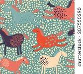 funny cartoon horses in vector. ... | Shutterstock .eps vector #307550390