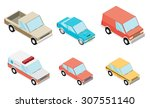 isometric selection of vehicles | Shutterstock .eps vector #307551140