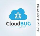 cloud bug logo template | Shutterstock .eps vector #307562828
