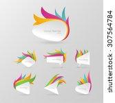 white realistic paper banner... | Shutterstock .eps vector #307564784