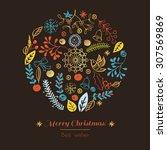 postcard merry christmas.... | Shutterstock .eps vector #307569869