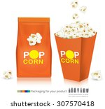 popcorn packaging.vector... | Shutterstock .eps vector #307570418