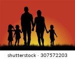 family silhouettes   Shutterstock .eps vector #307572203