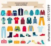 vector set of fashion... | Shutterstock .eps vector #307572599