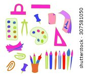 school set of objects. various... | Shutterstock .eps vector #307581050