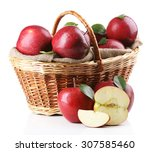Red Apples In Wicker Basket...