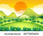 scene with field and trees... | Shutterstock .eps vector #307585604