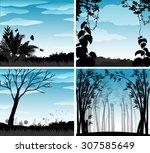 silhouette scene of nature...   Shutterstock .eps vector #307585649
