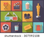 movie and cinema icons vector... | Shutterstock .eps vector #307592108