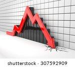 red arrow crashes through the... | Shutterstock . vector #307592909