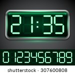 modern digital clock with 10... | Shutterstock .eps vector #307600808