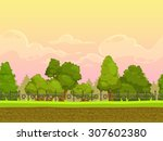 Seamless Cartoon Park Landscap...