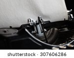 typewriter with aged textured... | Shutterstock . vector #307606286