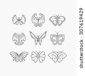 Stock vector vector set of line empty butterflies monochromatic graphical outline trendy icons logos marks 307619429