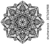 mandala of black lines isolated ... | Shutterstock .eps vector #307636988