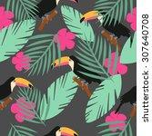 seamless toucan tropical vector ... | Shutterstock .eps vector #307640708