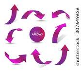 set of gradient arrow stickers   Shutterstock .eps vector #307649636