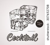 hand drawn sketch cocktail with ... | Shutterstock .eps vector #307652708