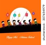 mid autumn festival background...   Shutterstock .eps vector #307654979