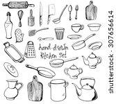 vector hand drawn set of rustic ... | Shutterstock .eps vector #307656614