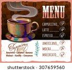 coffee menu design in vintage... | Shutterstock .eps vector #307659560