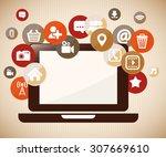 social media design  vector... | Shutterstock .eps vector #307669610