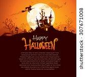 halloween design with wide copy ... | Shutterstock .eps vector #307671008